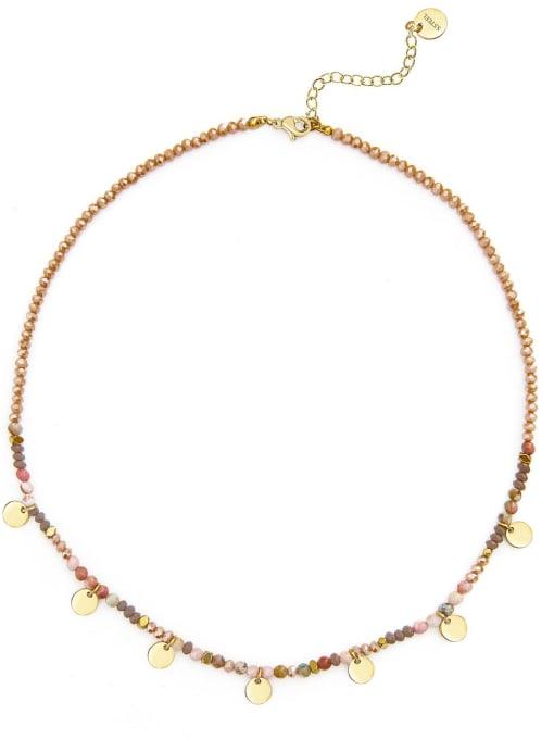 Multi Natural stone beads temperament titanium steel necklace