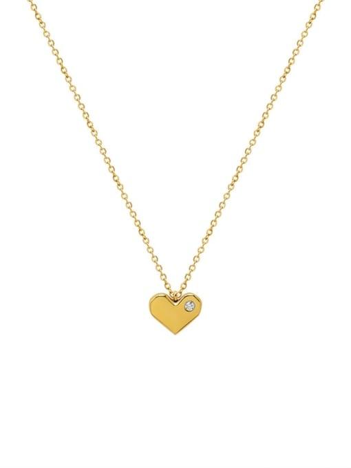 MAKA Titanium Steel Rhinestone Heart Minimalist Necklace 0