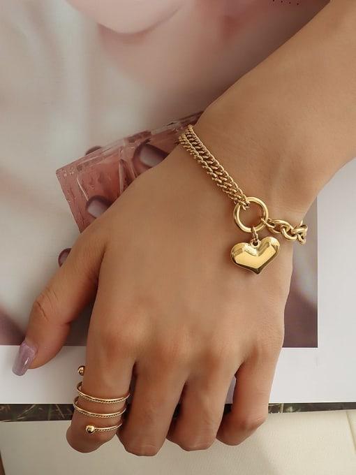 MAKA Titanium Steel Heart Vintage Strand Bracelet 1