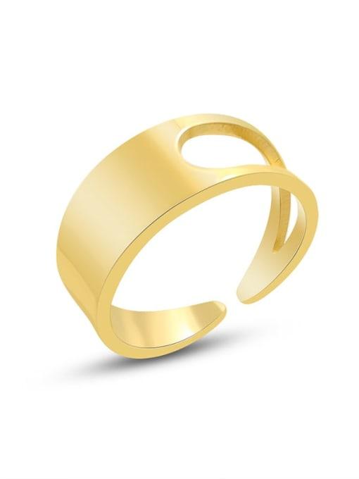 A268 gold ring Titanium Steel Smooth Geometric Minimalist Band Ring