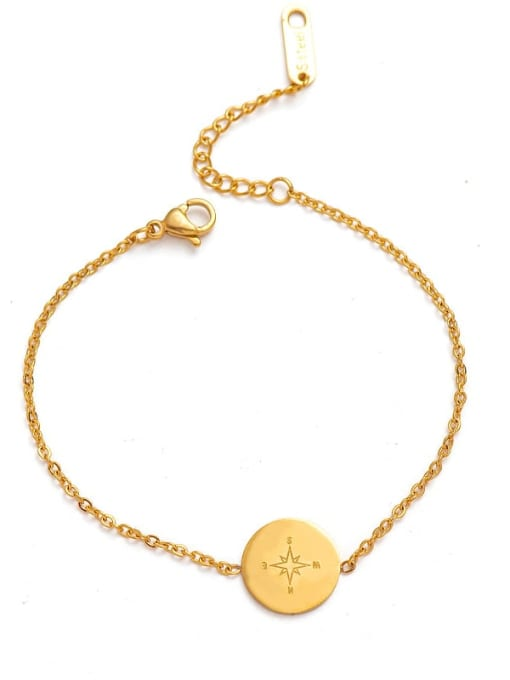 Gold Exquisite and simple round stainless steel bracelet