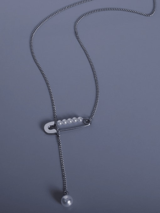 MAKA Titanium 316L Stainless Steel Geometric Vintage Lariat Necklace with e-coated waterproof 3