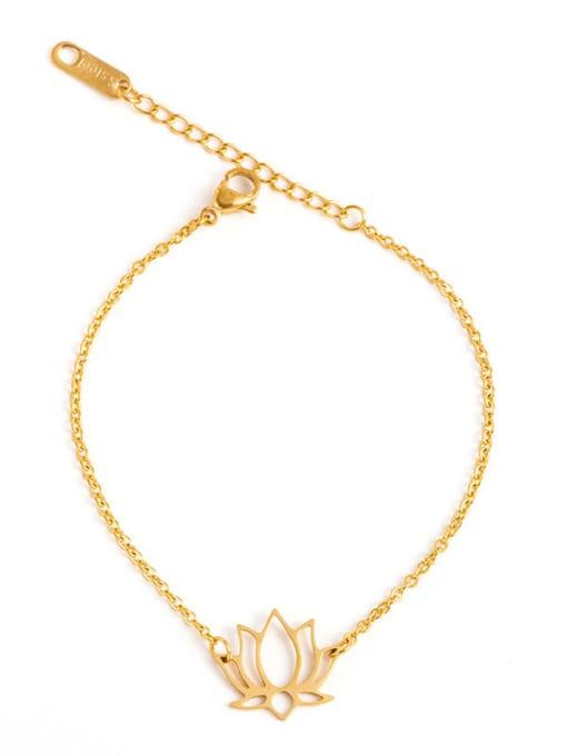 YAYACH Stainless steel Gold Flower Minimalist Link Bracelet 0