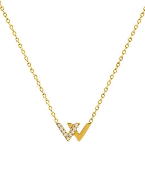 MAKA Titanium Steel Cubic Zirconia Minimalist Letter W  Necklace