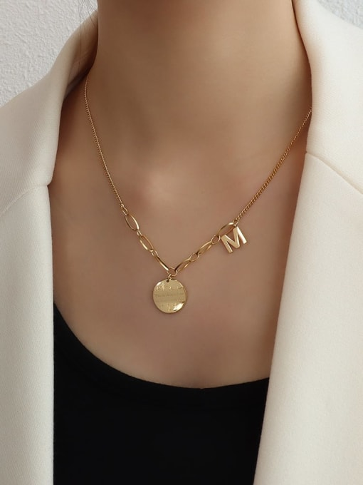 P558 gold wavy  43+5cm Titanium 316L Stainless Steel Vintage Irregular  Braclete and Necklace Set with e-coated waterproof