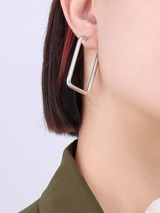 F546 Steel Earrings Titanium Steel Geometric Minimalist Huggie Earring