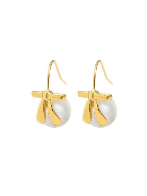gold Titanium 316L Stainless Steel Imitation Pearl Vintage Round  Earring and Necklace Set with e-coated waterproof