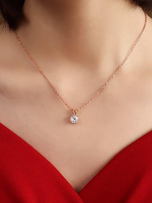 Rose gold 40+5cm Titanium Steel Cubic Zirconia Geometric Minimalist Necklace