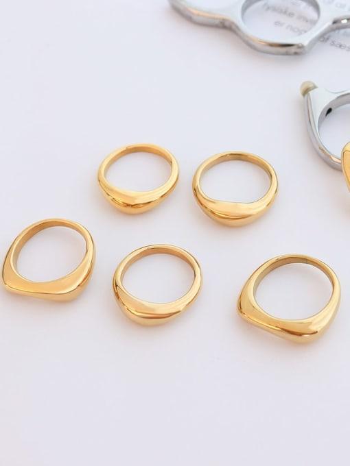 MAKA Titanium Steel  Smooth Geometric Minimalist Band Ring 2
