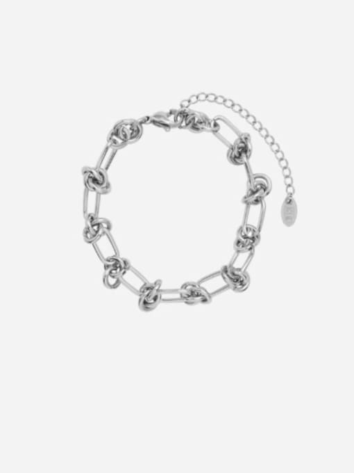 E185 steel color Bracelet 16+ 5cm Titanium Steel Vintage Hollow Geometric  Bangle and Necklace Set