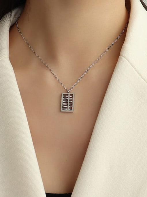 Steel color 40+ 5cm Titanium Steel Bead Geometric Vintage Necklace