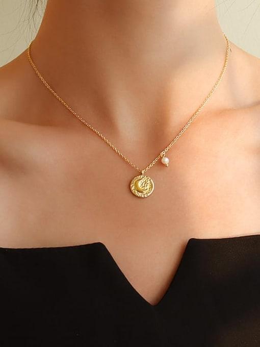 MAKA Titanium Steel Imitation Pearl Moon Vintage Necklace 1