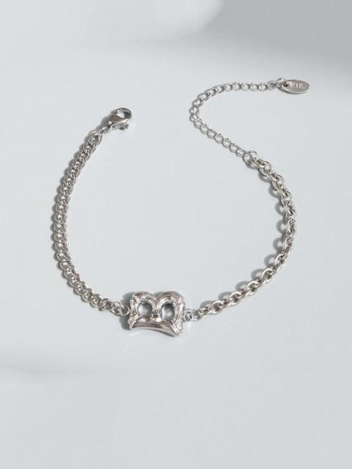 Steel color Bracelet 16.5cm Titanium Steel Geometric Chain Vintage Link Bracelet