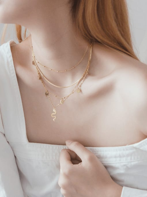 YAYACH French fine romantic chain snake pendant necklace, fine multi-color multi-layered snake-shaped clavicle chain 1
