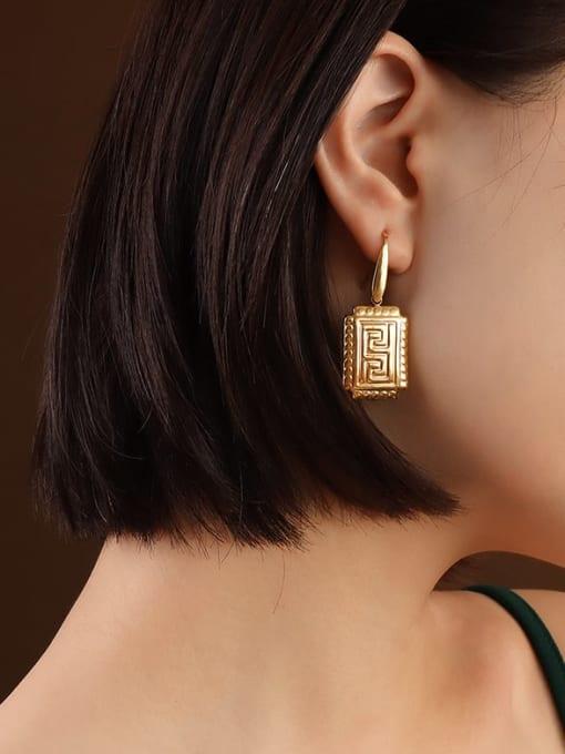 MAKA Titanium Steel Geometric Vintage Hook Earring 1