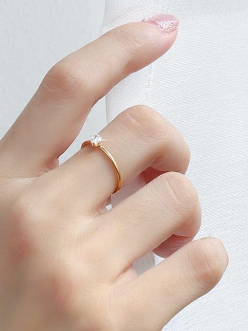 Gold ring Titanium Steel Cubic Zirconia Geometric Minimalist Band Ring