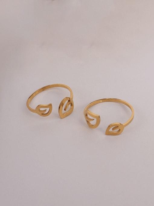 MAKA Titanium Steel Leaf Minimalist Band Ring 0