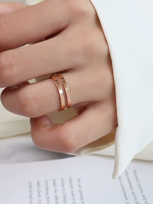 A005  two layers of rose gold Titanium 316L Stainless Steel Geometric Vintage Band Ring with e-coated waterproof