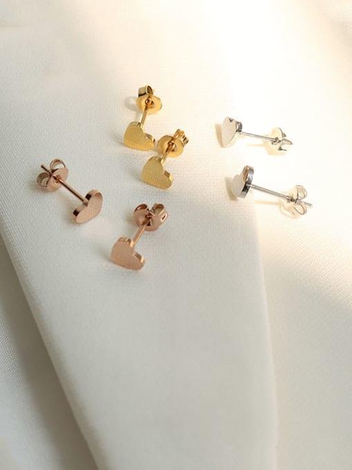 MAKA Titanium Steel Smooth Heart Minimalist Stud Earring 2