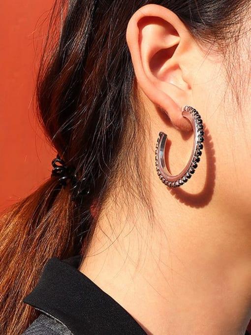 MAKA Titanium Steel Cubic Zirconia Geometric Vintage Hoop Earring 1