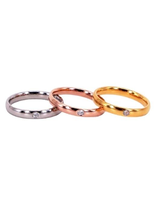 K.Love Titanium Steel Rhinestone Round Minimalist Band Ring 0