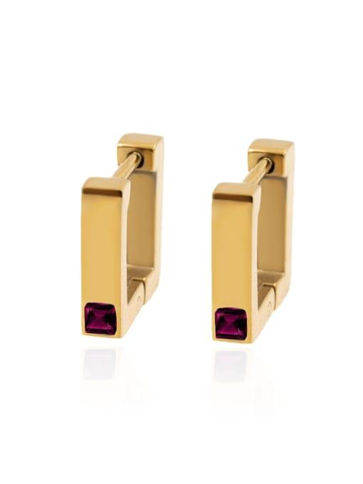 Red Square Earrings women's color preserving anti allergy versatile Earrings