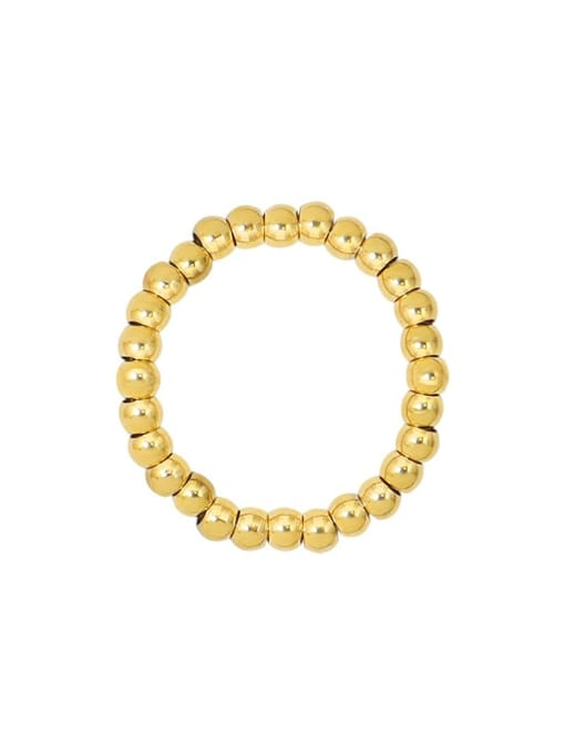 Gold Titanium Steel Bead Geometric Statement Band Ring