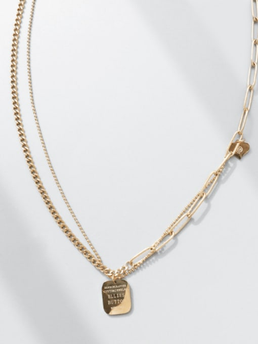 gold necklace 50+ 5cm Titanium Steel Geometric Vintage Multi Strand Necklace