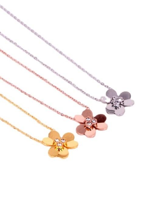 K.Love Titanium Steel Rhinestone Heart Minimalist Necklace