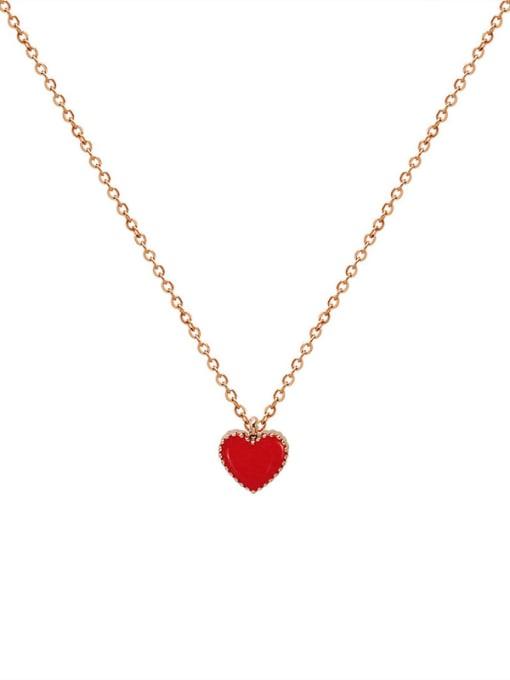 MAKA Titanium Steel Enamel Heart Minimalist Necklace 0