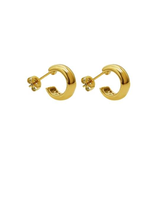MAKA Titanium Steel Geometric Minimalist Smooth C shape Stud Earring 0