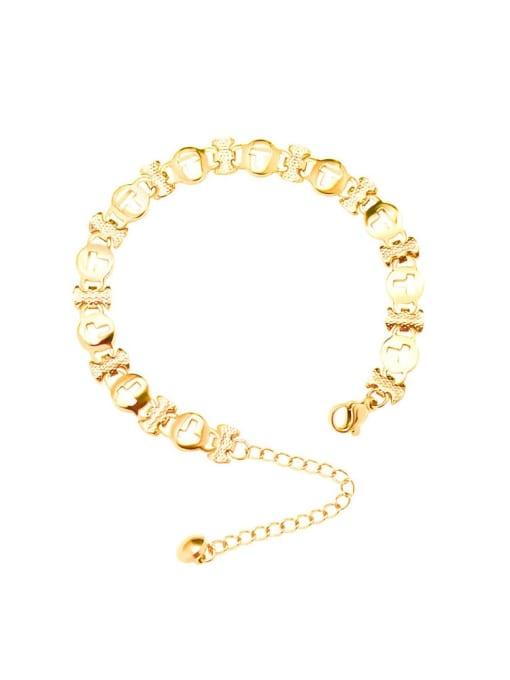 MAKA Titanium Steel Geometric Minimalist Link Bracelet 0