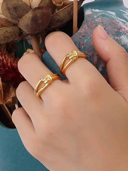 A252 gold ring Titanium Steel Irregular Vintage Band Ring