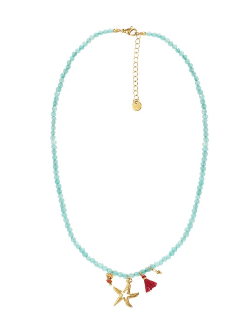 Green Starfish Titanium Steel Necklace Handmade Beads Natural Stone Round Beads Summer Beach Holiday Clavicle Chain