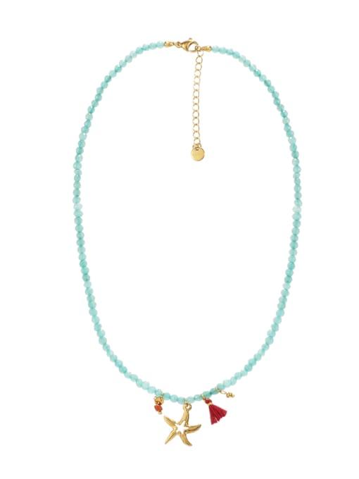 YAYACH Starfish Titanium Steel Necklace Handmade Beads Natural Stone Round Beads Summer Beach Holiday Clavicle Chain