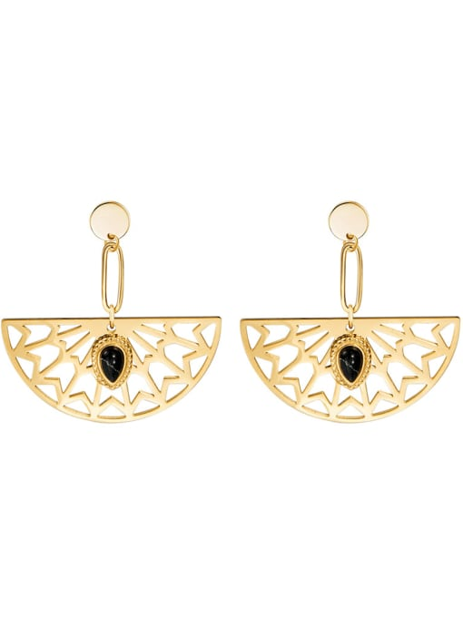 YAYACH Natural stone inlaid sector plated 14K Gold Stainless Steel Earrings