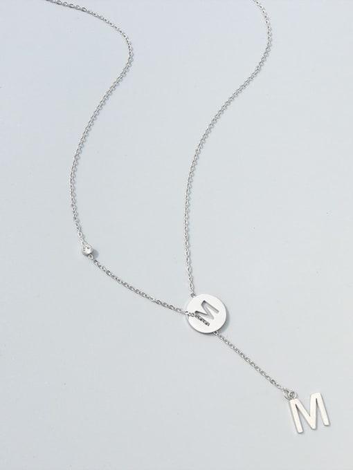 M letter steel necklace Titanium Steel Tassel Minimalist Lariat Necklace