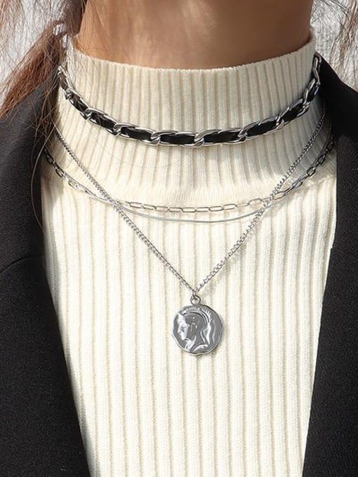 MAKA Titanium Steel Irregular Vintage Multi Strand Necklace 2