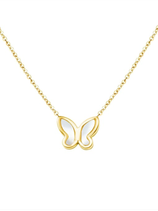 MAKA Titanium 316L Stainless Steel Shell Minimalist Butterfly  Earring and Necklace Set with e-coated waterproof 3