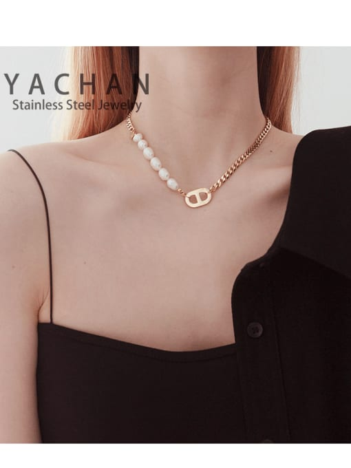 YAYACH Titanium steel necklace Cuban chain stitching freshwater pearl pig nose 1