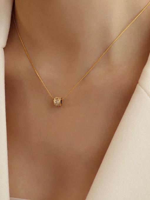 MAKA Titanium Steel Cubic Zirconia Minimalist Round  Earring and Necklace Set 1