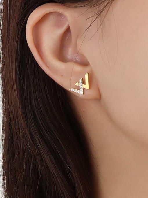MAKA Stainless steel Cubic Zirconia Letter Minimalist Stud Earring 1