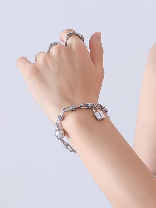 E011 Steel Bracelet 18 5cm Titanium Steel Vintage Irregular Bangle and Necklace Set
