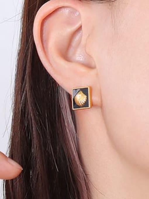MAKA Titanium Steel Enamel Minimalist Square Earring and Necklace Set 2