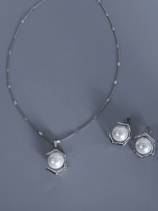 MAKA Stainless steel Imitation Pearl  Vintage Geometric Earring and Necklace Set 2