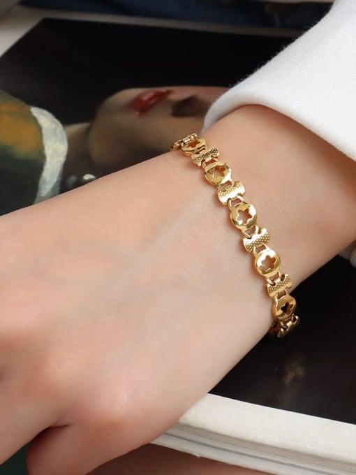 E090 Gold Star  16+ 5cm Titanium Steel Geometric Minimalist Link Bracelet