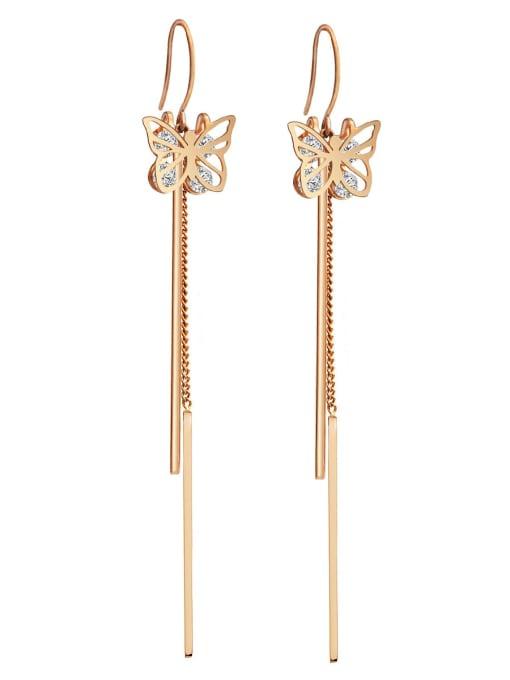 Rose Zirconium titanium steel butterfly fashion thin fairy gas long Tassel Earrings