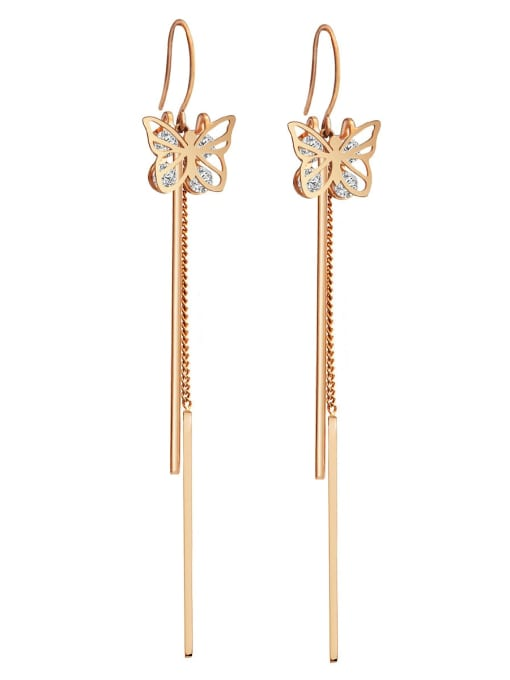 YAYACH Zirconium titanium steel butterfly fashion thin fairy gas long Tassel Earrings