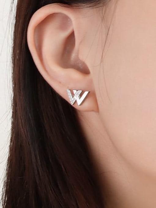 Steel Earrings Stainless steel Cubic Zirconia Letter Minimalist Stud Earring
