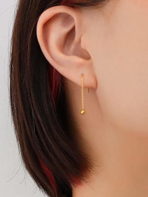 MAKA Titanium Steel Tassel Minimalist Threader Earring 1